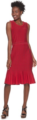 Nina Leonard Women's Striped Vertical Wave Sweater Dress