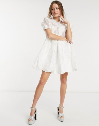 Sister Jane Dream mini smock dress with bib collar and embellishment in white