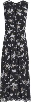 Vince Pleated Floral-print Silk-georgette Maxi Dress