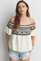 American Eagle Outfitters AE Embroidered Off-The-Shoulder Top
