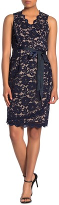 Marina Belted Lace Sleeveless Dress (Petite)