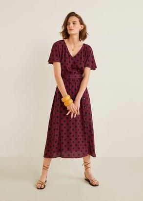 MANGO Belt midi dress maroon - 2 - Women
