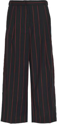 Versus By Versace Pinstriped Wool Wide-leg Pants