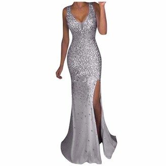 Moent Women's Casual Dress Women Sequin Prom Party Ball Gown Sexy Gold Evening Bridesmaid V Neck Long Dress Occasion Dresses for Women(Gold-XL)