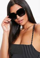 Missguided Black Square Oversized Sunglasses, Black