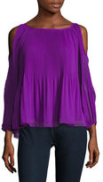 I.N.C International Concepts Petite Pleated Cold Shoulder Blouse