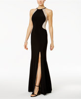Xscape Evenings Sequined Illusion Halter Gown