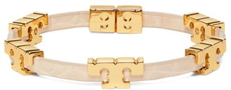Tory Burch Goldtone Logo Croc-Embossed Leather Bracelet