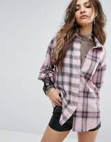boohoo Lace Insert Check Shirt