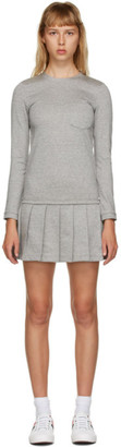 Thom Browne Grey Drop Waist Pleated Dress