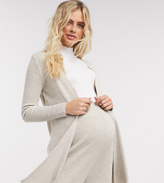 Fashionkilla Maternity longline knit cardigan two-piece in oatmeal
