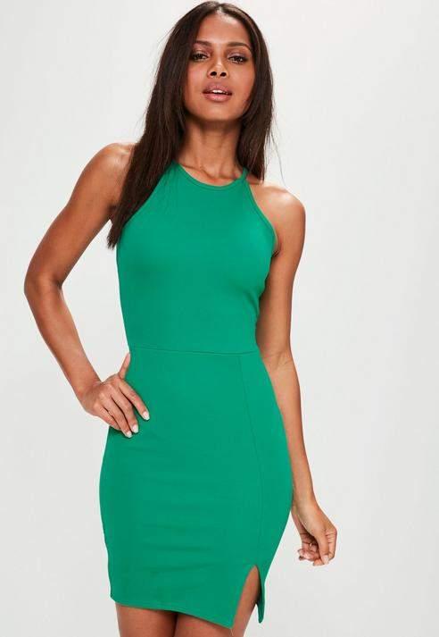 Missguided 90s Neck Side Split Dress