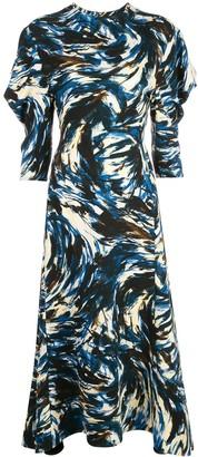 Proenza Schouler Feather Print Puff-Sleeve Dress