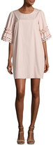 See by Chloe Eyelet-Sleeve Cotton Shift Dress, Blush