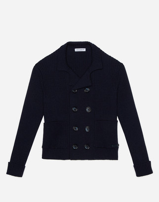 Dolce & Gabbana Double-Breasted Cardigan In Ribbed And Plain Knit Wool