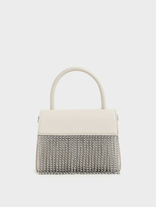 Charles & Keith Metallic Fringe Top Handle bag
