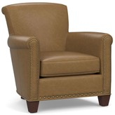 Pottery Barn Irving Roll Arm Leather Armchair with Nailheads
