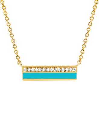 Ef Collection 14K 2.04 Ct. Tw. Diamond Turquoise Enamel Bar Necklace