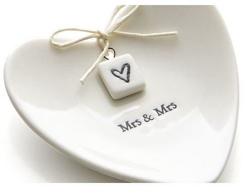 Crate & Barrel Mrs. and Mrs. Ring Dish