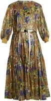 Toga Belted floral-print nylon dress