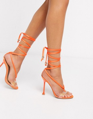 ASOS DESIGN Nest tie leg heeled sandals in orange