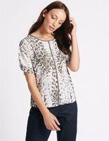Marks and Spencer Animal Print Kimono Half Sleeve Shell Top