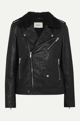 Deadwood Net Sustain River Teddy Faux Shearling-trimmed Leather Biker Jacket - Black