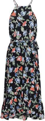 Joie Fluted Floral-print Silk Crepe De Chine Midi Dress