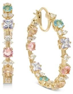 "Eliot Danori 18k Gold-Plated Medium Multi-Crystal Hoop Earrings, 1.25"", Created for Macy's"