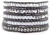 Chan Luu Crystal AB Mix Wrap Bracelet on Natural Dark Grey Leather