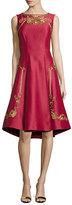 Alberta Ferretti Sleeveless Shantung Cocktail Dress, Red
