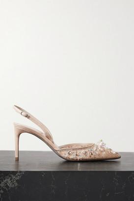 Rene Caovilla Crystal-embellished Lace And Leather Slingback Pumps - Beige