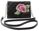 Charlotte Russe Embroidered Quilted Crossbody Bag