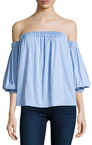 Milly Off-the-Shoulder Stretch-Cotton Blouse, Sky