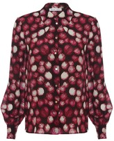 Diana Arno Elisa Silk Blouse In Raspberry Polka Dot