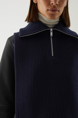 Cos High Neck Wool-Cotton Hybrid Collar