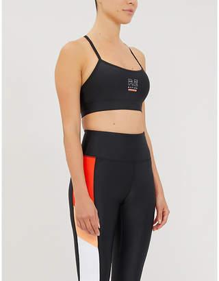 P.E Nation Training Day branded stretch-jersey sports bra