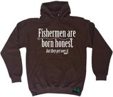 Drowning Worms Premium Drowning Worms Fishermen Are Born Honest But They Get Over It (XXL - HOT-CHOCOLATE) HOODIE