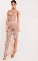 PrettyLittleThing Donatella Rose Gold Metallic Pointelle Knit Maxi Dress