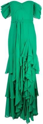 Badgley Mischka off-shoulder tiered ruffle gown