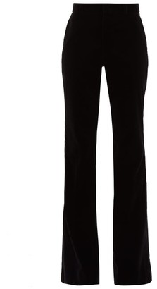 Gucci Flared Velvet Cotton-blend Trousers - Womens - Black