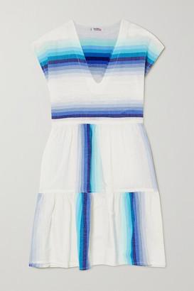 Lemlem + Net Sustain Teref Tiered Striped Cotton-blend Gauze Mini Dress - Turquoise