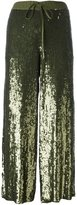 P.A.R.O.S.H. drawstring sequined cropped trousers - women - Viscose/PVC - M