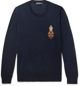 Dolce & Gabbana Embroidered Cashmere Sweater - Navy