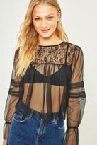 Pins & Needles Black Mesh and Lace Long Sleeve Top
