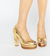Terry De Havilland Luna Gold Peep Toe Heeled Shoes