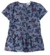 Brooks Brothers Girls' Chambray Floral Blouse.