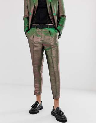Asos Edition EDITION tapered suit pants in pink two tone metallic