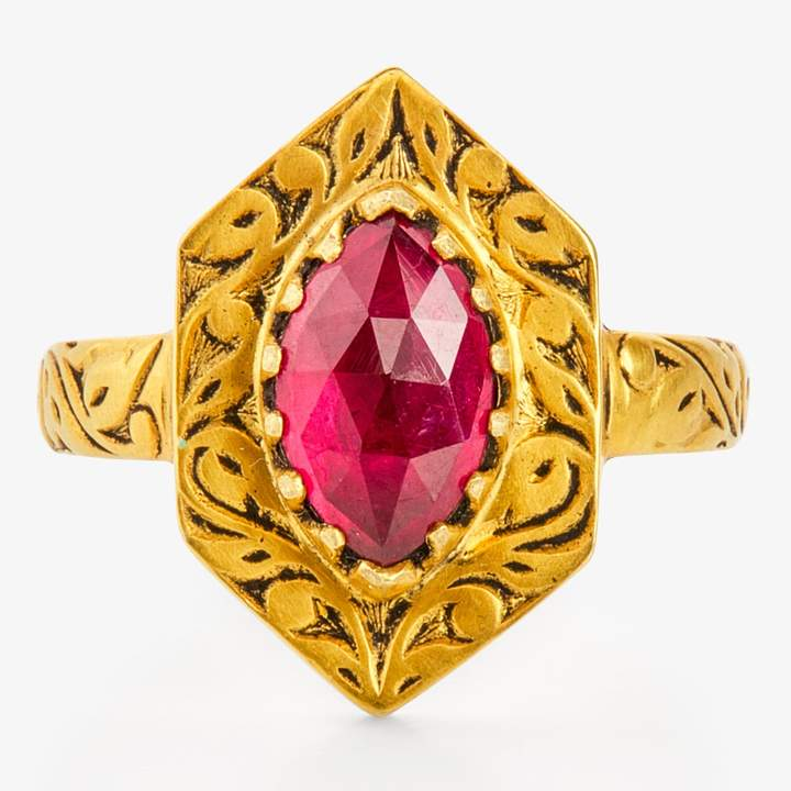 Amrapali Hexagon Shield Ruby Ring Gold