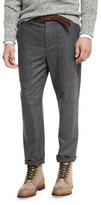 Brunello Cucinelli Flannel New Cargo Pants, Lead